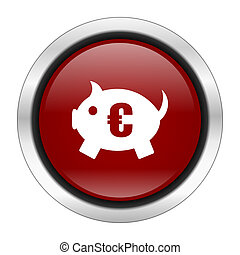 piggy bank icon, red round button isolated on white background, web design illustration