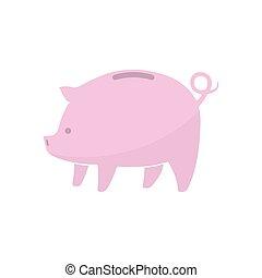Piggy bank icon. Vector illustration.