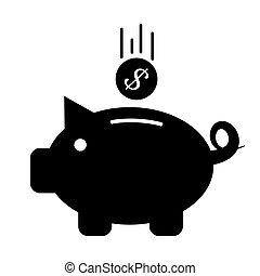 Piggy bank icon. Vector symbol on white background.