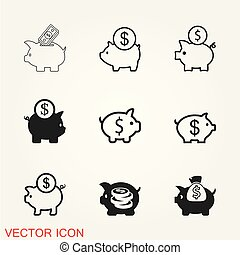 Piggy bank icon vector, trendy flat style for graphic design