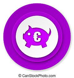 piggy bank icon, violet button