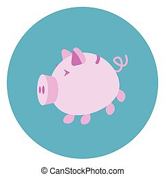 Piggy Bank Icon Web Button On Round Blue Background