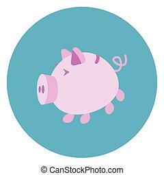 Piggy Bank Icon Web Button On Round Blue Background