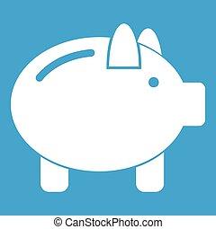 Piggy bank icon white