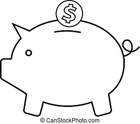 Piggy bank icon with a coin on a white background