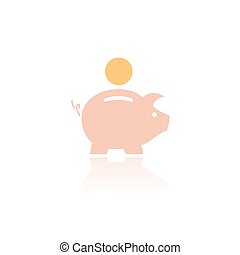 Piggy bank icon with color and reflection on a white background