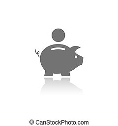 Piggy bank icon with reflection on a white background