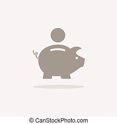 Piggy bank icon with shadow on a beige background