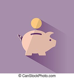 Piggy bank icon with shadow on a purple background
