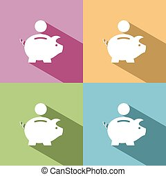 Piggy bank icon with shadow on colored backgrounds