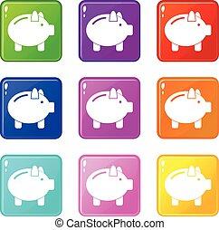 Piggy bank icons 9 set