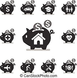 Piggy bank icons.