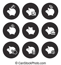 Piggy bank icons
