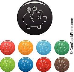 Piggy bank icons set color vector