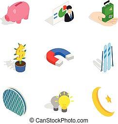 Piggy bank icons set, isometric style
