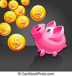 Piggy bank illustration. Icon