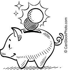 Piggy Bank - Piggy bank drawing.