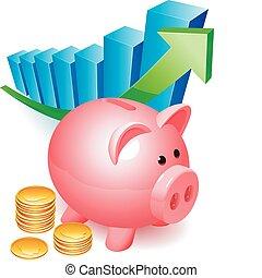 Piggy bank. - Piggy bank with golden coins and graph.