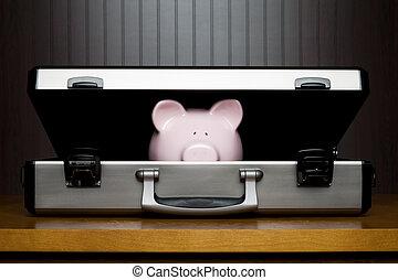 Piggy bank in a briefcase