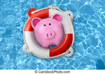 Piggy bank in a lifebuoy