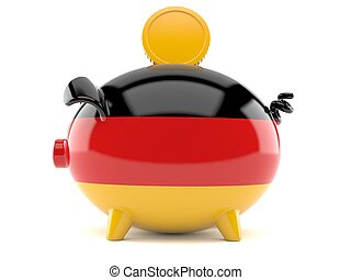 Piggy bank in german flag with coin