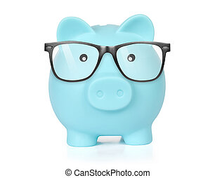 Piggy bank in glasses isolated