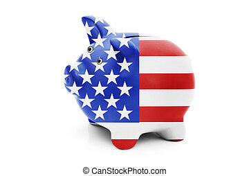 Piggy bank in the American flag colors isolated on white, Money management for Americans