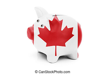 Piggy bank in the Canadian flag colors isolated on white, Money management for Canadians