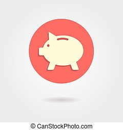 piggy bank in the circle with shadow