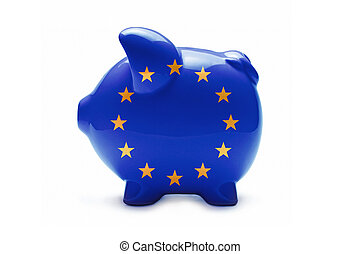 Piggy bank in the colors of the EU flag