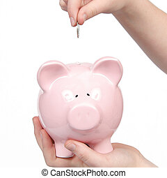 Piggy Bank isoalted with hand - Isolated Piggy Bank with...