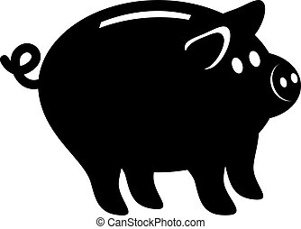 Piggy bank isolated on white. Simple vector illustration. Easy to change color.