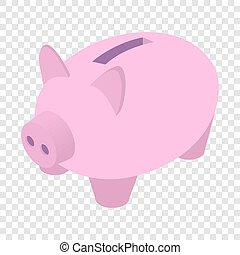 piggy bank, isometric, 3d, ikona