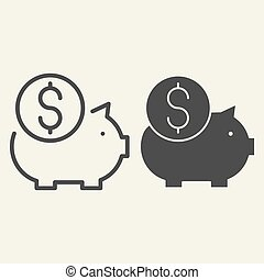 Piggy bank line and glyph icon. Savings vector illustration isolated on white. Finance outline style design, designed for web and app. Eps 10.