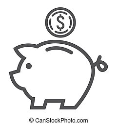 Piggy Bank line icon, business and finance