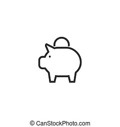 Piggy bank line icon in simple design on a white background