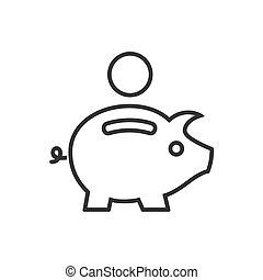 Piggy bank line icon on a white background