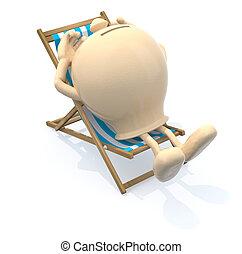 piggy bank lying on a beach chair