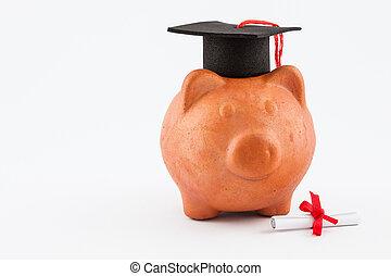 piggy bank , met, bevordering pet, vrijstaand, op wit, achtergrond., reddend geld, aan studie, concept