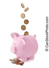 piggy bank , met, dalende muntstukken