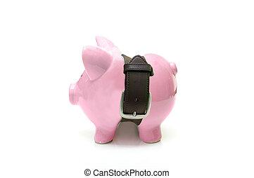 piggy bank , met, een, strak, riem, -, reddend geld, concept