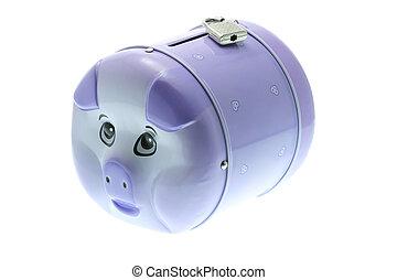 piggy bank , met, hangslot