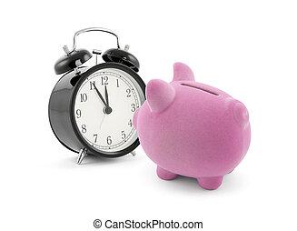 piggy bank , met, wekker