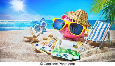 piggy bank , met, zonnebrillen, verslappen, op het strand, vakantie