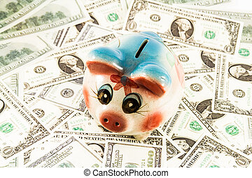 Piggy bank money box with money