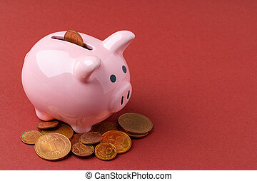 Piggy bank money box with Ukrainian money