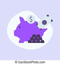 piggy bank money icon single isolated with modern purple color