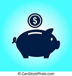 Piggy bank money. - Piggy bank icon. Pictograph of moneybox....