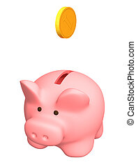 Piggy bank of pink color. Object over white