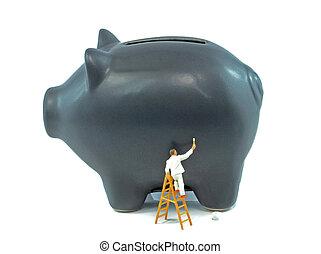 piggy bank, og, maler